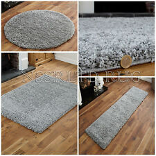 LUXURY THICK SILVER GREY PLAN SHAGGY RUGS NON-SHED SOFT ANTI-SLIP FLOOR MAT