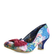 Womens Irregular Choice Dazzle Razzle Blue Floral Low Heel Shoes Shu Size