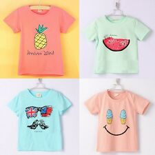 UK Baby Boys Girls Cotton Cozy T-Shirts Kid Short Sleeve Moustache Print Tee Top