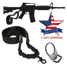 AR15 Single Point Sling WITH Adapter Plate Mount COMBO Rifle Tactical Bungee USA