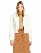 GUESS Jacket Faux Sherpa Womens Nell Jacket Leather Trims XS S M L Off White NWT