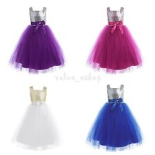 Kid Sequins Tulle Dress Flower Girl Bow Wedding Formal Pageant Graduation Party