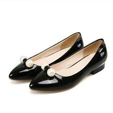 New Womens Low Med Heels Pointed Toes Slip On Faux Patent Leather Shoes 3.15870.