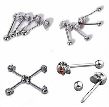 Skull Tongue Nipple Crystal 316L Surgical Steel Bars ~ Plus Free Gift Pouch ~ UK