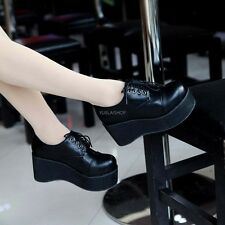 Goth Womens Wedge Mid Heels Platform Creeper Lace Up Punk Shoes Round Toe Boots