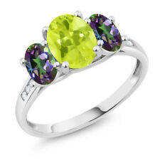 10K White Gold 2.10 Ct Oval Yellow Lemon Quartz Green Mystic Topaz 3-Stone Ring