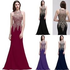 New Long Halter Prom Dresses Evening Formal Party Ball Gown Bridesmaid Dress
