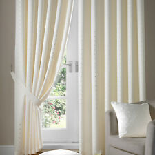 Cream Jacquard Curtains - Fully Lined Faux Silk Ready Made Pencil Pleat Curtain