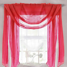 Ready Made Plain Valance Voile Scarf – Red – Window Decoration – Washable