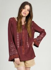 Monoreno Burgundy Embroidered Cotton Thermal Boho Hippie Top