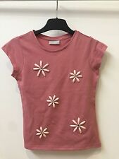 NEW EX MATALAN PINK FLOWERY CAPPED SLEEVE TOP FOR GIRLS AGES  3 4 7 8 9 10 11 12