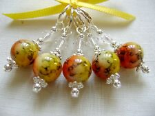 Hand Beaded Sunset Marbled Round Stitch Markers for Knitting or Crochet