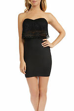 Teeze Me Juniors Strapless Lace Popover Empire Waist Fitted Dress