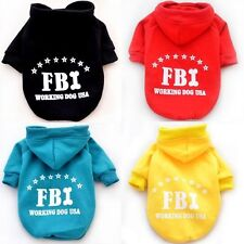 FBI Sweater Hoodie Hooded Costume Coat Jacket Jumper Pet Small Dog Clothes S~XXL