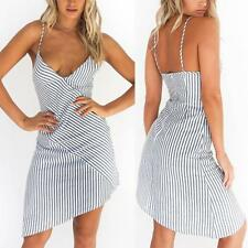 Women Spaghetti Strap V-Neck Backless Striped Evening Cocktail Casual Mini Dress