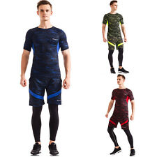 Man 3 PCS Short Sleeve Elastic Gym Pullover Shorts Trousers Sport Tee Jogging