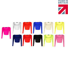 Womens New Crop Top Ladies Long Sleeve Stretch Vest T Shirt Tee Sizes 8 10 12 14