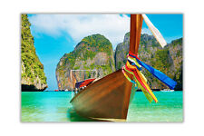 Summer Boat on Sea in Thailand Landscape Wall Prints Poster Art Pictures