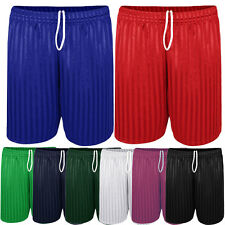Mens Shadow Stripe Elasticated Drawstring Waist Football Sports Shorts Size