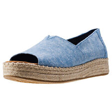 Toms Open Toe Platform Alpargata Womens Espadrilles Chambray New Shoes
