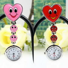 Heart Shape Cute Smile Face Nurse Quartz Clip-on Fob Pocket Watch Pin Brooch VE