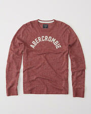 Abercrombie & Fitch Mens T-Shirt Applique Logo Graphic L/Sleeve Tee XL Red NWT