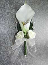 Ladies Calla Lilly, Pearl & Rose Corsage / Buttonhole, Weddings, All colours