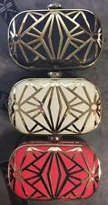 BRAND NEW KARDASHIAN KOLLECTION HARD CLUTCH PURSE / BAG * BLACK CORAL BEIGE