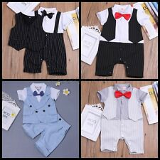 2pcs Newborn Infant Baby Boy Kids Shirt Tops+Pants Clothes Outfits Gentleman Set