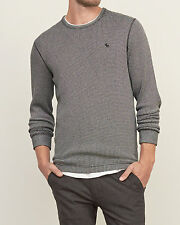 Abercrombie & Fitch Mens T-Shirt Rugged Waffle Knit Tee L/S XL Grey White NWT