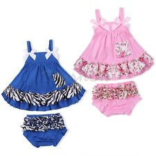 2PCS Infant Kids Baby Girl Summer Clothes Swing Tops + Bloomers Pant Outfits Set