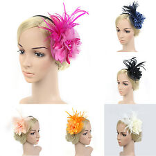 Fascinator Lady Girls Feather Floral Beaded Headband Cocktail Party Headwear