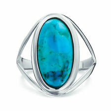 Bling Jewelry 925 Silver Oval Untreated Natural Turquoise Cocktail Ring