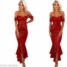 BEAUTIFUL RED SEQUIN MERMAID EVENING PARTY MAXI DRESS SIZE 8 10 12 14