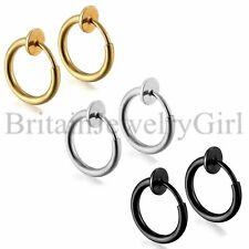 Non-Piercing Clip On Spring Lip Ear Nose Stud Cartilage Septum Hoop Ring 2pcs