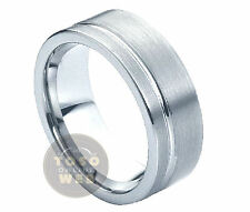 Men's 8mm Pipe-Cut Tungsten Ring w/ Grooved over Brushed Center TS0300