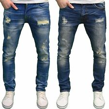 DML Jeans Men's Slim Fit Straight Leg Stretch Ripped Detail Denim jeans, BNWT