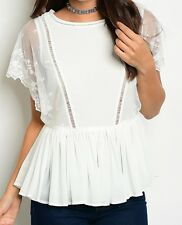Peplum Lace Mesh Inset New White Floral Sheer Tunic Top Cap Sleeve Size | 4 6 8