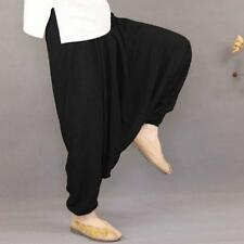 Drop Crotch Harem Pants Summer Loose Casual Yoga Cotton Tai Chi Trousers Size UK