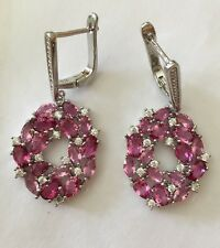 1 Inch Pink Tourmaline And CZ 925  Silver Earrings