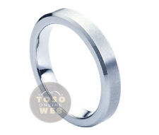 Ladies 4mm Beveled Edge Pipe-Cut Polish Tungsten Ring w/ Brushed Center TS1510