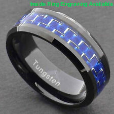 8mm Black Tungsten Ring with Blue Silver Carbon Fiber Wedding Band Men's Jewelry