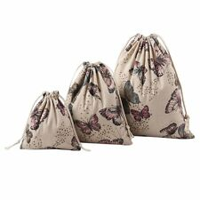 Handmade Cotton Linen Draw String Buggy Bag Candy Gift Bag Butterfly Storage Bag