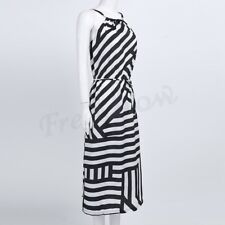 Women Bohemian Evening Party Beach Boho Waist Belt Striped Dress Sundress Summer