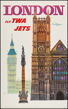 London uk TWA  Vintage Illustrated Travel Poster Print on canvas