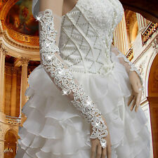White Lace Beaded Long Opera Bridal Accessories Fingerless Sexy Wedding Gloves