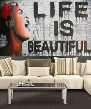 Huge street Art Painting banksy life is beautiful Abstract Canvas  by Pepe