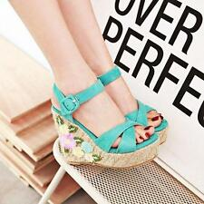 Summer Womens Platform Kinted Wedges High Heel Sandals Buckle Straps Lady Shoes