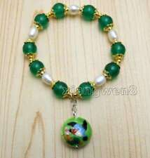 SALE 10mm Green Round Jade and White Rice Pearl Bracelet & Cloisonne pendant-382