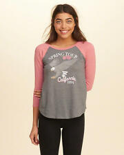 Abercrombie & Fitch – Hollister Womens Tee Sporty Vintage Raglan XS S M Grey NWT